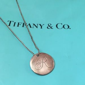 Tiffany & co R pendant necklace